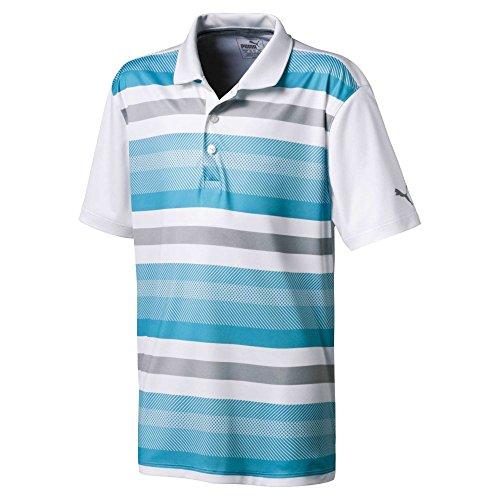 Puma Golf Boys 2018 Turf Stripe Polo, Medium, Blue Atoll