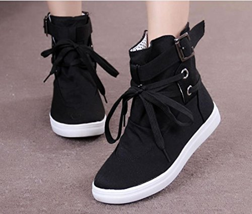XDGG Women The New Canvas Shoes Knight Martin Boots Lace Leisure Single Shoes , 37