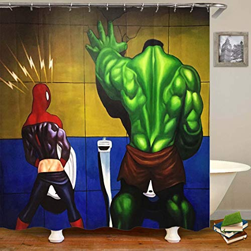 (Marvel Shower Curtain,Spider-Man and The Hulk Bath Curtain, Family Curtain Personalized Shower Curtain Bathroom Curtain no Perforation Door Curtain (9, 180cm(w)×180cm(h)))