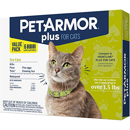 PetArmor Plus for Cats, Flea & Tick Prevention for Cats (Over 1.5 lb), Includes 6 Month Supply of Topical Flea Treatments from PETARMOR