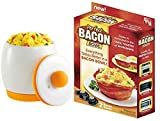 Microwave Egg Cooker and Poacher for Fast and Fluffy Eggs, White/Orange with Perfect Bacon Bowl Bundle