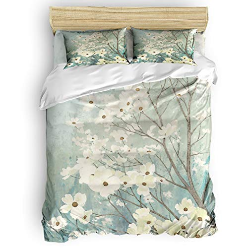 4 Piece Polyester Fabric Duvet Cover Set with Zipper Closure Twin, Fresh Abstract White Flowers Tree Daybed Bedding Set Bedspread with 2 Pillow Shams for Girls Boys Kids Children Adults