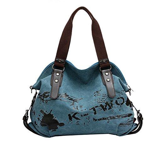 Dark Crossbody Blue Cool Womens Graffiti Tote Fansela TM Purple Canvas Simple Bag Handbag 6TW0v7q