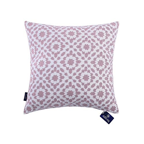 Aitliving Decorative Pillowcase Embroidered Cotton Canvas Mina Trellis Throw Pillow Cover 18 x 18 inch (45.5x45.5cm) Dusk Lilac 1 ()