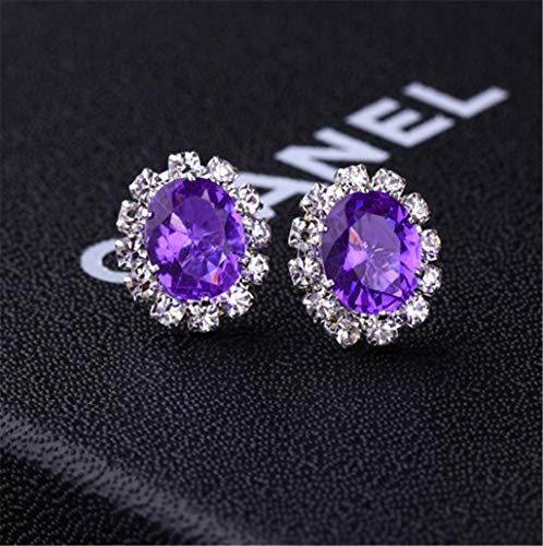 Creative Stylish Oval Diamond Earrings Multicolor Flash Diamond Zircon Earrings,Purple