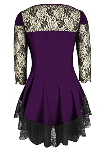 Haut Lolita Longue Violet Manches 56 Noir 34 Gothique À Dentelle Évasée rrqnx6gZw