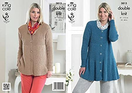 King Cole Ladies Cardigans Baby Alpaca Dk Knitting Pattern 3813