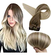 Full Shine Remy Clip in Hair Extensions Ash Brown Color 8 Fading to Color 60 Platinum Blonde Bala...