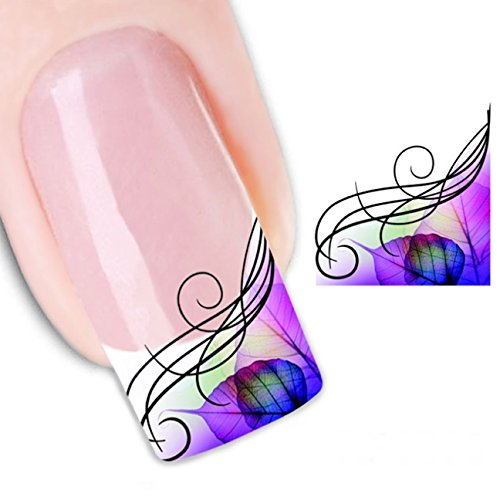 1 Pack Leaf French Nail Art Stickers Watermark Water Transfer Nails Wrap Paint Tattoos Stamping Plates Templates Tools Tips Kits Significant Popular Xmas Winter Holidays Stick Tool Vinyls Decals Kit by GrandSao