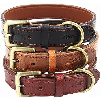 Amazon.com : Moonpet Soft Padded Real Genuine Leather Dog Collar - Best Full Grain Heavy Duty