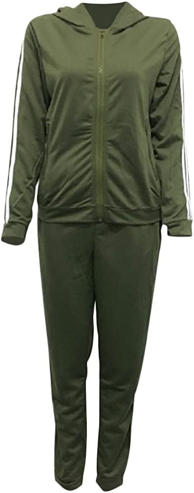 Womens 2 PCS Stripe Tracksuit Set Long Sleeve Zip Up Hooded Sweatshirt Hoodies Pants Jogging Outfit