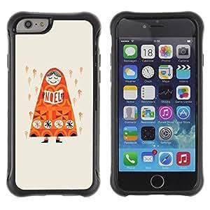 LASTONE PHONE CASE / Suave Silicona Caso Carcasa de Caucho Funda para Apple Iphone 6 PLUS 5.5 / Rain Deep Orange Russia Drawing