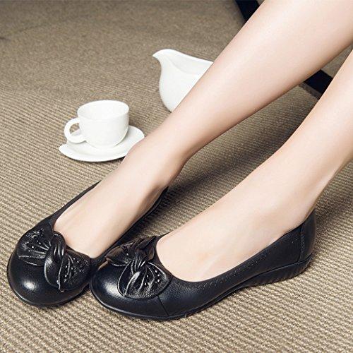 Femme Chaussures En Hwf Noir Cuir Plat Moyen D'été Femmes Âgées 76g1q