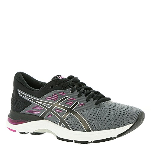 ASICS Womens Gel Flux 5 Low Top Lace Up Running, Carbon/Black/Fuchsia, Size 9.0
