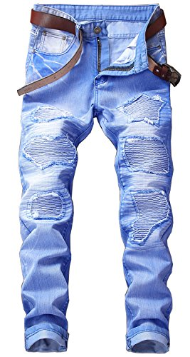YTD Mens Distressed Ripped Biker Slim Jeans Stretched Moto Denim Pants (W34(Tag 36), Sky Blue)