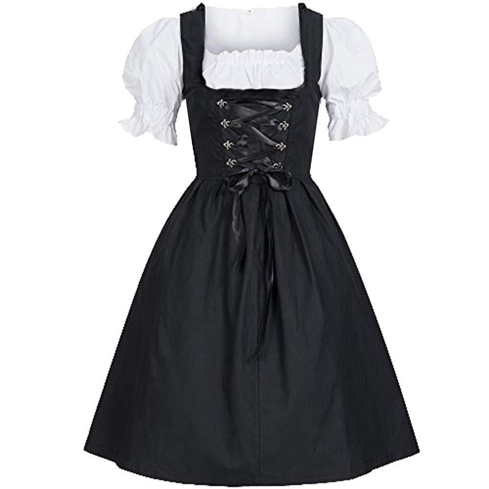 Kimloog Women's Oktoberfest Dirndl Dress Bavarian Beer Maid Costume(Black,) by Kimloog-Dress