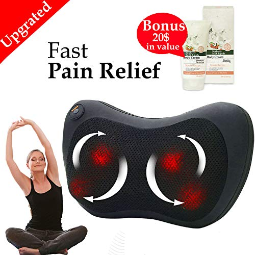 Relieve Tired Muscle with Shiatsu Massager Heating Massaging Pillow w/ 4 Massage Nods Full Body Massage Heated Cushion for Home Office Car Travel Neck & Back Stress Relief +European Body Cream+E-Book
