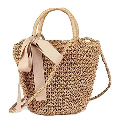 Compras Beige Día Bow Bag De Señoras Black Bolso Playa Brown De Straw Fiesta Las TwOIIZ