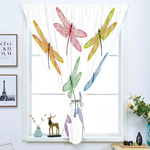iPrint Blackout Window Shades,Free Punching Magic Stickers Curtain,Dragonfly,Group of Dragonflies with Colored Patches Elongated Body Winged Animal Design,Multicolor,Paste Style,for Living Room