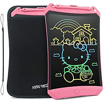 NEWYES LCD Writing Tablet 2019 Improved Colorful Screen 8.5 Inch Electronic Writing Board Doodle and Scribble Notepad Erasable Magnetic Drawing Memo with Case and Lanyard Gift for Girls Kids Pink