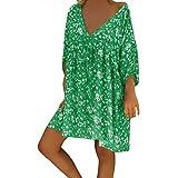 Forthery-Women T Shirt Dress Plus Size Floral Boho Summer Beach Swing Dress Sundress(Green,XX-Large)