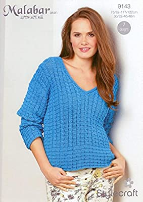 Knitting Pattern Ladies Cable Sweater Aran 30 To 40""