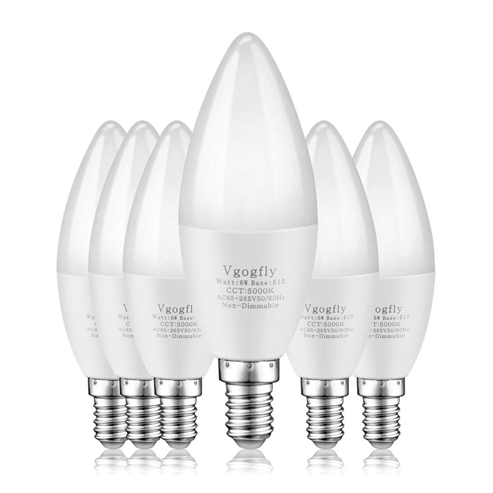 E12 LED Bulb Candelabra LED Bulbs Daylight White 5000K Ceiling Fan Light Chandelier Base Non Dimmable Equivalent 60Watt Candleabras 6W 550Lumens (6-Pack)