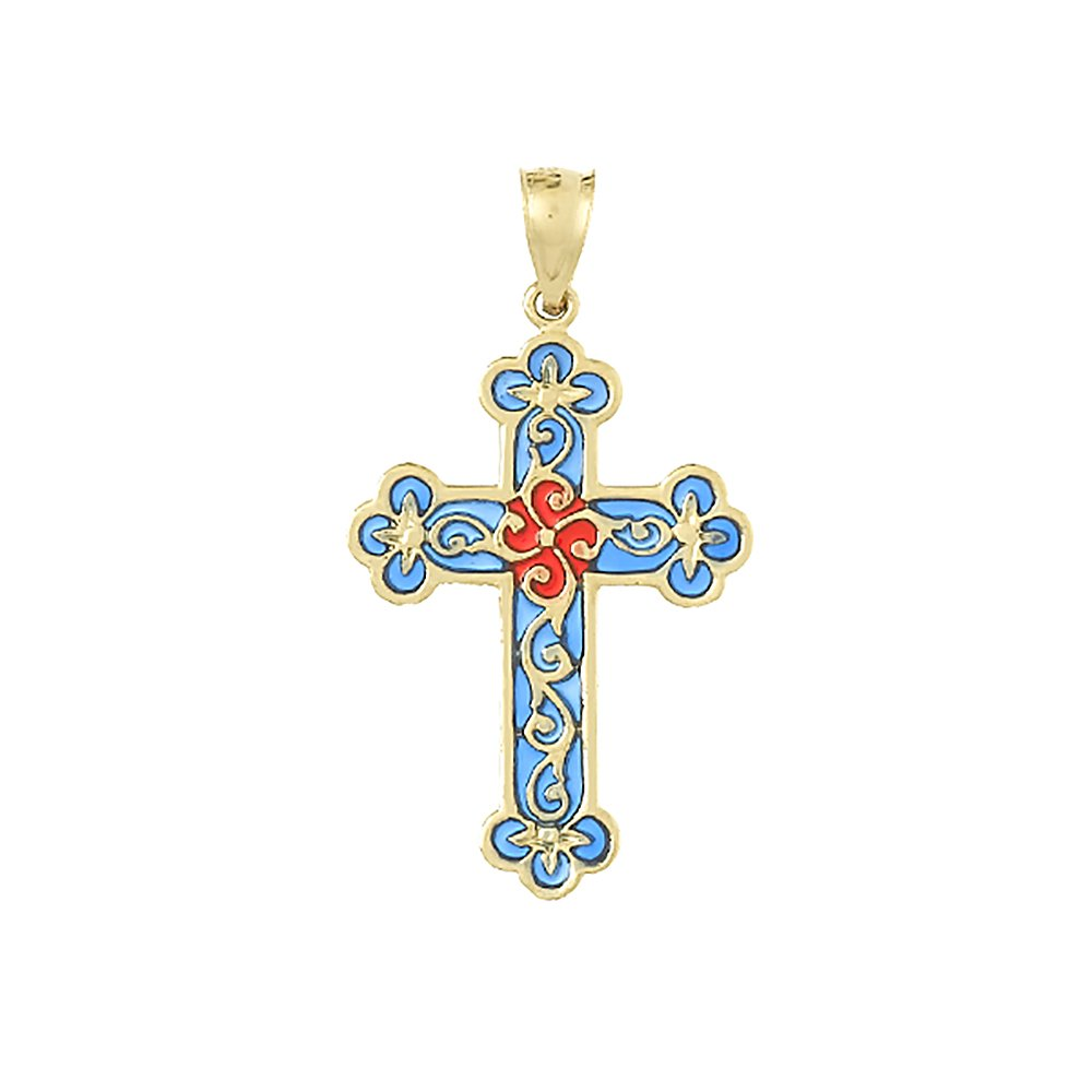 14k Yellow Gold Religious Charm Pendant, Stained Glass Enamel Cross with Fancy Tips and Scroll Pattern