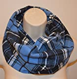 Blue Plaid infinity scarf, Handmade infinity scarf
