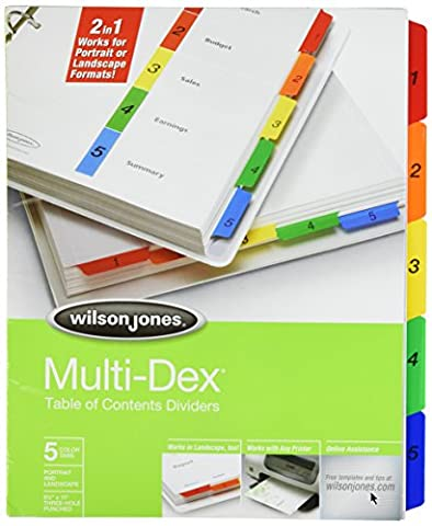 Wilson Jones MultiDex Index Dividers, 5 Tabs, for 8.5 x 11 Inch Sheets, Multicolored Tabs Numbered in Black - Index System 15 Tab