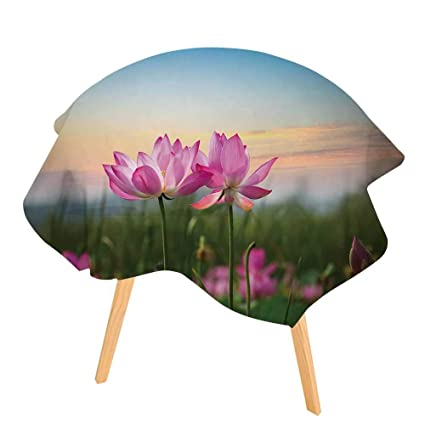 Amazoncom Pinafore Round Tablecloth Beautiful Lotus Flower In