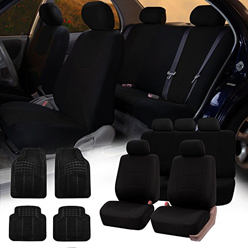(FH GROUP FH-FB051115 + R11305 Combo Set: Black Multifunctional Flat Cloth Car Seat Covers, Airbag Compatible and Split Ready and Black Rubber Floor Mats)