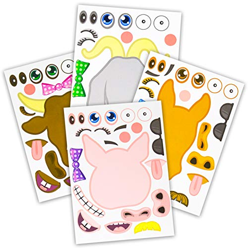 24 Make A Barnyard Farm Animal Stickers - Great Zoo Themed Birthday Party Favors - Fun Craft Project For Children 3+ - Let Your Kids Get Creative & Design Their -