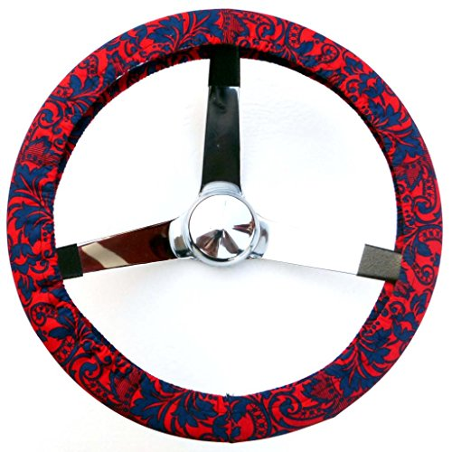 (Mana Trading Handmade Steering Wheel Cover Red and Blue Floral Swirl)