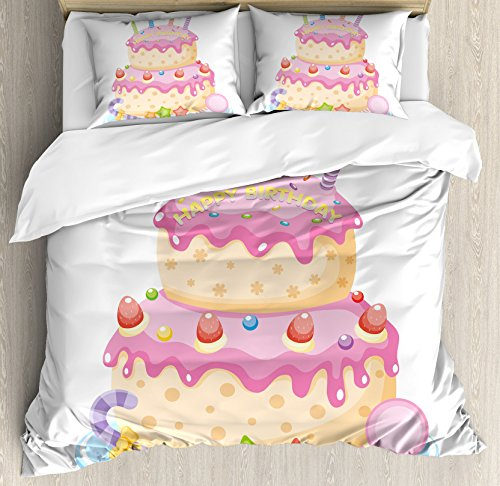 Ambesonne Birthday Decorations for Kids Duvet Cover Set, Pas
