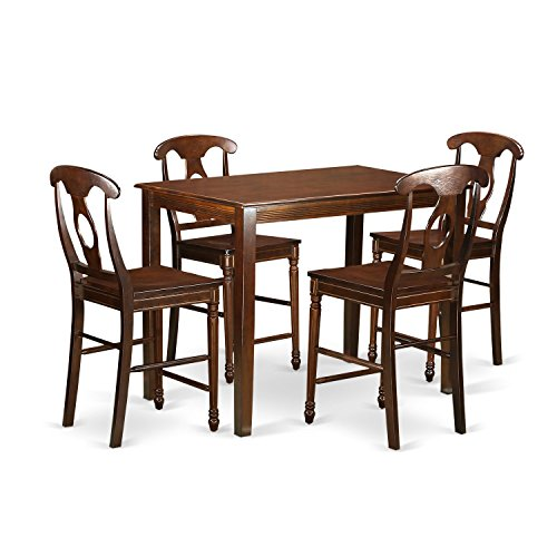 42 Counter Height Set (East West Furniture YAKE5-MAH-W 5 Piece Counter Height Pub Table and 4 Chairs Set)