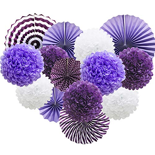 Purple Hanging Paper Party Decorations, Round Paper Fans Set Paper Pom Poms Flowers for Birthday Wedding Graduation Baby Shower Events -