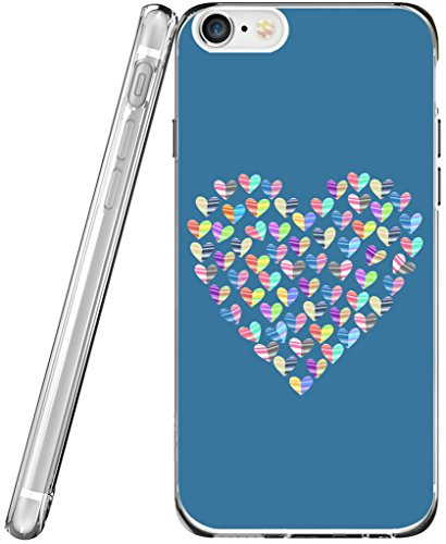 Case for iPhone 6S TPU & Protector for iPhone 6 & MUQR Flexible Gel Silicone Slim Drop Proof Protection Cover Compatible for iPhone 6/6S & Blue Heart Pattern