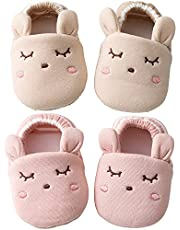 VMTENMV Baby Girls Boys Socks Slippers with Grip Non Slip Cotton Booties for Newborn Infants Toddlers Cute Animals 2 Pairs