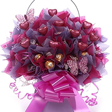 Lindor And Ferrero Rocher Chocolate Bouquet With Chocolate Hearts