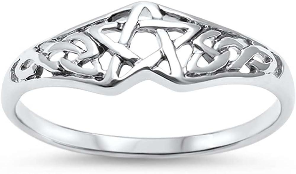 OMEGA DIAMOND CO 17596 Pentagram Celtic Star .925 Sterling Silver Engagement Ring