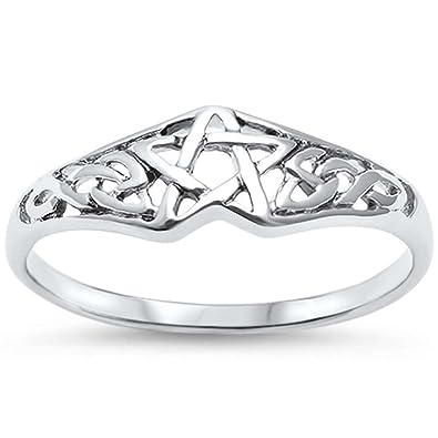 2a4e3e6a5b OMEGA DIAMOND CO Pentagram Celtic Star .925 Sterling Silver Ring Sizes 4-11  (