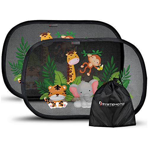 Systemoto Sonnenschutz Auto Baby mit Zertifiziertem UV Schutz (2er Set) – Selbsthaftende Sonnenblenden für Kinder mit süßen Tier Motiven
