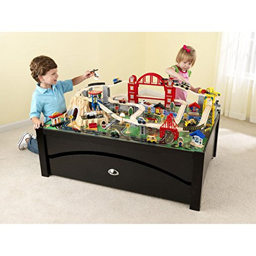 KidKraft Metropolis Train Table and Set Large Rolling Trundle for Convenient Storage (Nick Hotel Tickets compare prices)