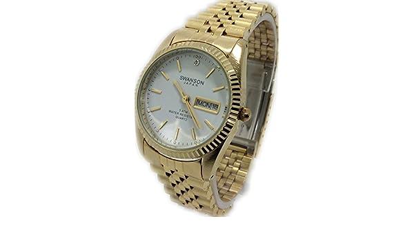 Amazon.com: Reloj de Hombre Swanson Japan Watch Dorado Cara Blanca,Fecha & Dia Nuevo: Watches