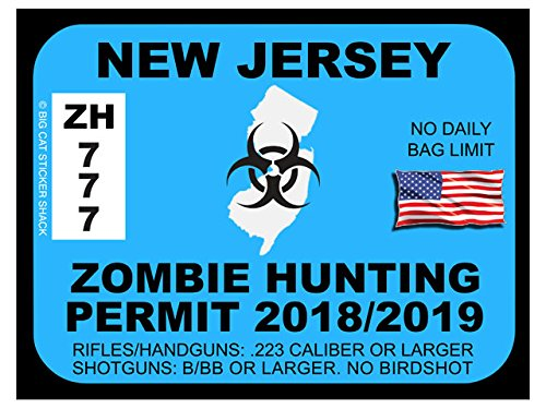 New Jersey Zombie Hunting Permit(Bumper Sticker)