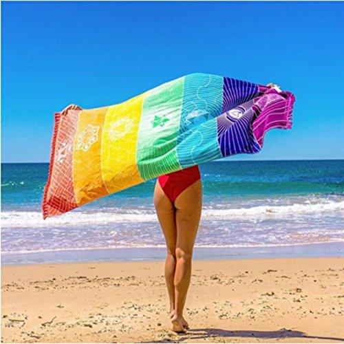 Tinksky Rainbow Yoga Mats Square Beach Handtuch Wrap Faltbare Übung Gym Mat mit Quasten für Picknick Strand Taveling Camping Wandern