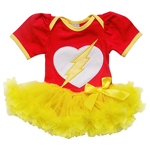 So Sydney Baby Girls Tutu Chiffon Ruffle Skirted Onesie Superhero Romper (L (12-18 Months), Red & Yellow (Flash Girl)