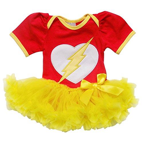 Superhero Flash (So Sydney Baby Girls Tutu Chiffon Ruffle Skirted Onesie Superhero Romper (L (12-18 Months), Red & Yellow (Flash)))