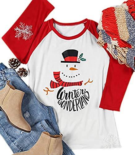 (MAXIMGR Women's Winter Wonderland Letter Print 3/4 Sleeve Christmas Snowman Baseball T-Shirt Size L (White))